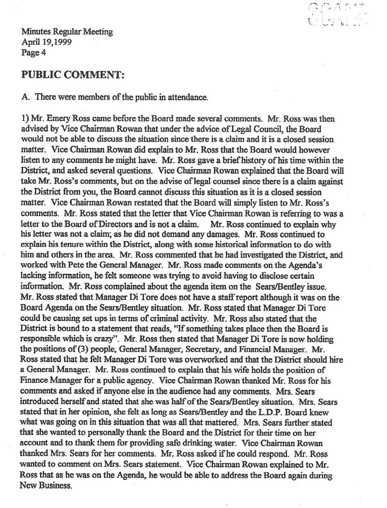 ROSS April 19 1999 Reg Mtg Comments 1oshort