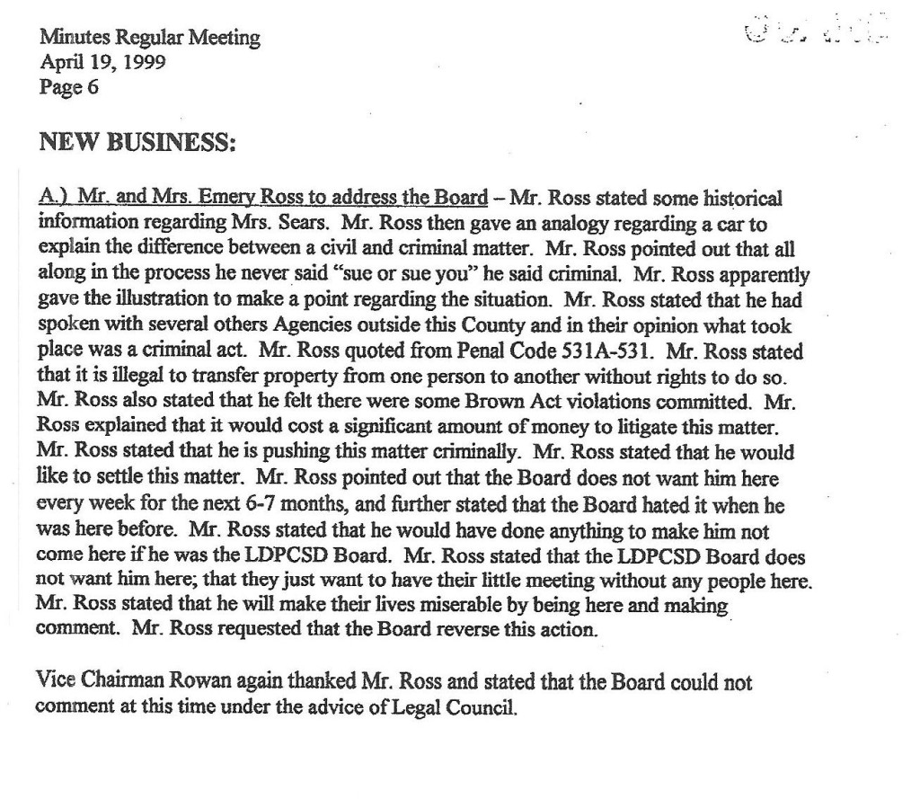 ROSS April 19 1999 Reg Mtg Comments 2oshort