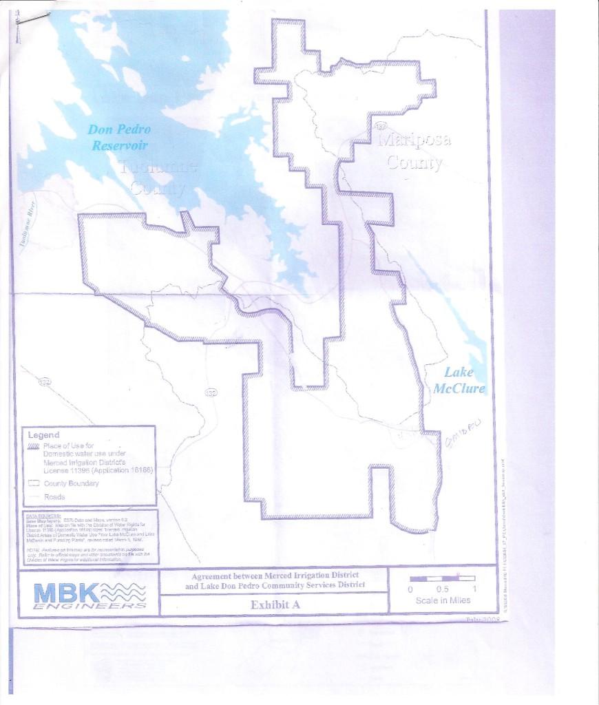 MERCED IRRIGATION DISTRICT PLACE OF USE (MIDPOU) PER WATER LICENSE 11395 UNDER WHICH THE LDPCSD PUMPS MERCED RIVER WATER FROM LAKE McCLURE
