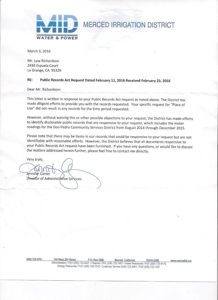 March 3 2016 MID Ltr with unresponsive FOIA request 411