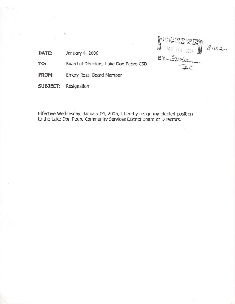Ross Jan 4 2006 Resign Email 1 Submitted Resignation