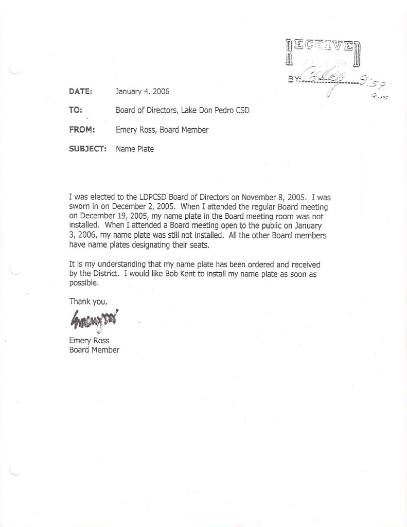 Ross Jan 4 2006 Resign Email 2 Name Plate