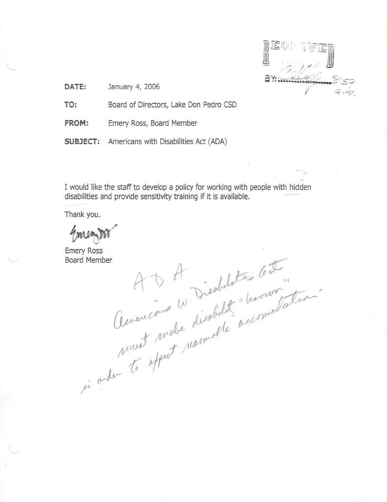 Ross Jan 4 2006 Resign Email 3 ADA and SENSITIVE TRAINING
