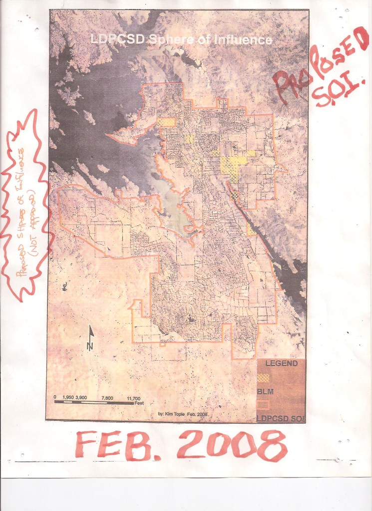 NOTICE THAT THE MID PLACE OF USE MAP IS IDENTICAL TO THE ORIGINAL SERVICE AREA MAP WITH THE EXCEPTION OF THE ONLY LEGALLY ANNEXED PROPERTY - THE SOUTH SHORE CLUB 2,010 ACRES TO THE WEST BELOW DON PEDRO RESERVIOR
