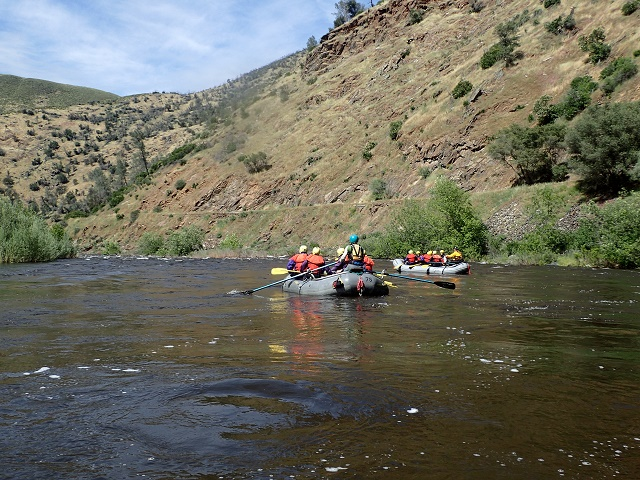 Finished with the last of this trips white water we head for one of the campsite areas west of the Briceburg Bridge to land and load the rafts and equipment on the waiting bus and trailer to return to Mid Pines.