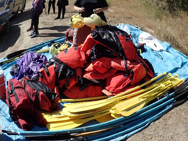 Helmets and vests are provided and those without their own cold water recommended gear can rent that for the trip as well.