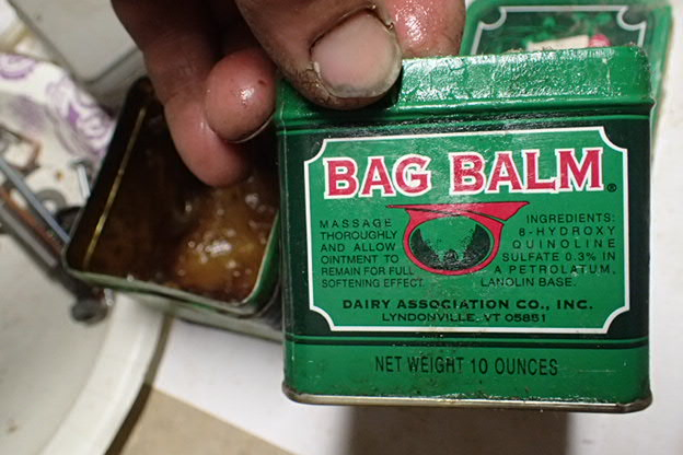 BAG BALM - good stuff but messy.